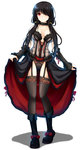 1girl ass_visible_through_thighs bare_shoulders black_hair blush boots breasts choker cleavage corset date_a_live detached_sleeves dress full_body garter_straps gayprince hair_over_one_eye highres lace lace-trimmed_legwear lingerie lolita_fashion long_hair looking_at_viewer medium_breasts panties red_eyes ribbon see-through simple_background skirt skirt_lift smile solo standing thighhighs tokisaki_kurumi twintails underwear white_background yellow_eyes