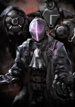 3boys black_coat black_gloves bondrewd commentary_request facing_viewer gloves glowing helmet highres kaatoso made_in_abyss multiple_boys whistle