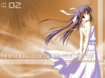1girl arms_behind_back bare_shoulders copyright_request cowboy_shot dress from_behind looking_at_viewer looking_back nanao_naru number sleeveless sleeveless_dress solo standing sundress wallpaper white_dress zoom_layer