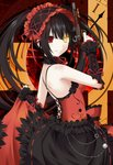 1girl arm_up bare_shoulders black_hair black_sleeves breasts clock_eyes commentary_request date_a_live detached_sleeves dress from_side gun hair_between_eyes hairband heterochromia highres holding kagura_ittou lolita_fashion lolita_hairband long_hair looking_at_viewer medium_breasts red_dress red_eyes red_ribbon ribbon skirt_hold sleeveless sleeveless_dress smile solo symbol-shaped_pupils tokisaki_kurumi twintails weapon yellow_eyes