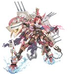 aircraft aircraft_catapult airplane anchor banner boots cannon cape chain elbow_sleeve goggles goggles_on_head head_wings holding holding_chain holding_weapon knee_pads mecha_musume north_carolina_(zhan_jian_shao_nyu) pantyhose radar_dish range_finder red_eyes red_hair tagme tomahawk torn_cape torn_clothes torn_pantyhose turret weapon white_hair zhan_jian_shao_nyu