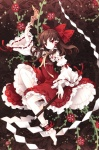 1girl absurdres ankle_cuffs barefoot bow brown_hair detached_sleeves embellished_costume face feet flower frilled_hair_tubes frilled_shirt_collar frills gohei hair_bow hair_tubes hakurei_reimu highres jewelry lace long_hair neck_ribbon nontraditional_miko ofuda red_eyes red_ribbon ribbon ribbon-trimmed_sleeves ribbon_trim scan skirt skirt_set solo tarot tearfish touhou white_collar white_sleeves yellow_ribbon