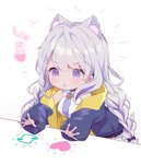 1girl :o animal_ear_fluff animal_ears bangs bare_shoulders black_bow black_jacket blush bongo_cat bow braid breasts cat_ears collared_shirt commentary_request directional_arrow earrings eyebrows_visible_through_hair hair_between_eyes hair_bow heart hood hood_down hooded_jacket jacket jewelry kurokuma_(kuro_kumagaya) long_hair long_sleeves low_twintails medium_breasts meme open_clothes open_jacket original parted_lips puffy_long_sleeves puffy_sleeves purple_eyes purple_neckwear shirt silver_hair sleeveless sleeveless_shirt sleeves_past_wrists solo stud_earrings translation_request twin_braids twintails twitter v-shaped_eyebrows very_long_hair white_background white_shirt