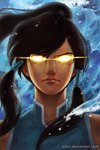 1girl avatar_(series) closed_mouth commentary english_commentary face glowing glowing_eyes hair_tubes highres korra long_hair looking_at_viewer qinni serious solo the_legend_of_korra tied_hair water