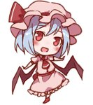 1girl :d ascot bangs bat_wings blue_hair blush chibi commentary_request dress eyebrows_visible_through_hair full_body hat hat_ribbon head_tilt looking_at_viewer lowres mob_cap open_mouth outstretched_arms pink_dress pink_headwear red_eyes red_footwear red_neckwear red_ribbon red_sash remilia_scarlet ribbon sash shoes short_hair simple_background smile snozaki solo standing touhou white_background wings