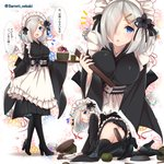 1girl alternate_costume apron baretto_(firearms_1) black_legwear black_skirt blue_hair breasts commentary_request enmaided eyebrows_visible_through_hair hair_ornament hair_over_one_eye hairclip hamakaze_(kantai_collection) high_heels kantai_collection large_breasts looking_at_viewer maid maid_headdress multiple_views one_eye_closed open_mouth parted_lips pleated_skirt short_hair skirt thighhighs translated wa_maid white_apron white_hair