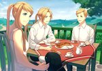 1girl 2boys alphonse_elric animal blonde_hair blue_eyes chair cup day den_(fma) dog earrings edward_elric elbows_on_table food fork fullmetal_alchemist happy jewelry knife long_hair long_sleeves looking_at_another mizui_xl mountain multiple_boys nature open_mouth outdoors petting pie plate ponytail saucer shirt short_hair siblings sky smile table tablecloth talking teacup teapot tree white_shirt winry_rockbell yellow_eyes