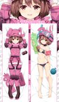 1girl :t animal_hat arm_up arms_up bangs bare_legs barefoot bed_sheet bikini black_bikini black_footwear blush boots breasts brown_hair bullpup bunny_hat closed_mouth collarbone commentary_request cross-laced_footwear dakimakura eyebrows_visible_through_hair fingernails fur-trimmed_jacket fur_trim gloves goggles goggles_on_headwear gun hair_between_eyes hands_on_headwear hat highres holding inflatable_armbands jacket lace-up_boots llenn_(sao) long_sleeves lying menggongfang multiple_views navel on_back p-chan_(p-90) p90 pants parted_lips pink_gloves pink_hat pink_jacket pink_pants pout red_eyes short_hair small_breasts snorkel submachine_gun swimsuit sword_art_online sword_art_online_alternative:_gun_gale_online trigger_discipline weapon