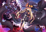 1girl abigail_williams_(fate/grand_order) bangs black_bow black_dress black_footwear black_headwear black_legwear black_panties bow commentary_request covered_mouth disintegration dress fate/grand_order fate_(series) groin hat hat_bow heart highres key keyhole long_hair long_sleeves looking_at_viewer multiple_bows multiple_hat_bows object_hug orange_bow panties parted_bangs red_eyes revealing_clothes shoes single_thighhigh sleeves_past_fingers sleeves_past_wrists solo standing stuffed_animal stuffed_toy suction_cups teddy_bear tentacles thighhighs topless underwear very_long_hair witch_hat yuzu_modoki