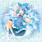 1girl argyle argyle_background blue_eyes blue_hair blush bow cirno floral_background hair_bow jpeg_artifacts looking_at_viewer michii_yuuki no_shoes open_mouth outstretched_hand short_hair smile socks solo touhou white_legwear wings