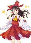 1girl :d bow brown_hair detached_sleeves eyebrows_visible_through_hair floating_hair hair_between_eyes hair_bow hair_tubes hakurei_reimu hand_on_hip head_tilt highres long_hair monrooru open_mouth red_bow red_eyes red_shirt red_skirt ribbon-trimmed_sleeves ribbon_trim sarashi shirt simple_background skirt smile solo standing touhou wavy_hair white_background