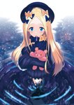 1girl abigail_williams_(fate/grand_order) absurdres bangs black_bow black_dress black_footwear black_headwear blonde_hair blue_eyes blush bow bug butterfly commentary_request dress fate/grand_order fate_(series) forehead hair_bow hat highres huge_filesize i_maken insect long_hair long_sleeves looking_at_viewer mary_janes multiple_bows multiple_hair_bows object_hug open_mouth orange_bow parted_bangs polka_dot polka_dot_bow reflection ripples shoes sleeves_past_fingers sleeves_past_wrists solo standing stuffed_animal stuffed_toy suction_cups teddy_bear tentacles very_long_hair