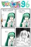 2girls 4koma aqua_eyes aqua_hair blonde_hair catstudioinc_(punepuni) collared_shirt comic depressed hair_ribbon hands_on_own_head hatsune_miku highres index_finger_raised juice_box kagamine_rin left-to-right_manga multiple_girls necktie ribbon school_uniform serafuku spring_onion thai translation_request twintails vocaloid