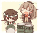 2girls brown_eyes brown_hair closed_eyes commentary crying drum_(container) holding hyuuga_(kantai_collection) japanese_clothes kantai_collection kata_meguma kumano_(kantai_collection) long_hair long_sleeves multiple_girls open_mouth paintbrush pleated_skirt ponytail school_uniform serafuku short_hair skirt