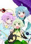 3girls :d blue_eyes blue_hair commentary green_eyes green_hair heterochromia karakasa_obake komeiji_koishi komeiji_satori multiple_girls open_mouth purple_eyes purple_hair red_eyes short_hair smile tagme tatara_kogasa third_eye touhou umbrella yuzuna99