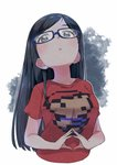 1girl black_hair blue-framed_eyewear blue_eyes breasts eyebrows_visible_through_hair fingers_together glasses head_tilt large_breasts long_hair looking_at_viewer ontama original own_hands_together parted_lips print_shirt shirt simple_background solo t-shirt tareme
