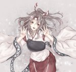 1girl :d brown_eyes grey_hair hachimaki head_tilt headband high_ponytail highres japanese_clothes kantai_collection long_hair muneate open_mouth ponytail sa-ya2 smile solo striped_headband traditional_media w zuihou_(kantai_collection)