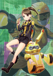 1girl brown_eyes brown_hair helmet izumi_rion legs ponytail robot short_shorts shorts skirt tokumei_sentai_go-busters usada_lettuce usami_youko weapon yellow_buster zoom_layer