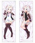 1girl :3 :d absurdres american_flag american_flag_print animal_ear_fluff animal_ears ass asymmetrical_legwear azur_lane bangs black_jacket breasts brown_gloves brown_legwear cat_ears closed_mouth collarbone commentary_request dakimakura dress elbow_gloves eyebrows_visible_through_hair fingerless_gloves fingernails flag_print forehead gloves head_tilt highres jacket kirisame_mia long_hair lying multiple_views no_shoes on_back on_side open_clothes open_jacket open_mouth panties panty_pull parted_bangs pointing print_neckwear silver_hair sims_(azur_lane) sleeveless_jacket small_breasts smile striped striped_panties thighhighs thighhighs_pull two_side_up underwear very_long_hair white_dress