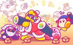 2boys backwards_hat bandana baseball_cap beanie bird blue_hat bow bowtie cloud club co-kracko commentary_request eating ehoumaki flying_sweatdrops food food_on_face green_hat hat headphones jitome king_dedede kirby kirby_(series) kracko looking_at_another makizushi mask masu meta_knight multiple_boys nintendo no_humans notepad official_art oni_mask red_neckwear robe running setsubun sitting spark sparkle spiked_club sushi sweatdrop throwing ufo ufo_(kirby) waddle_dee weapon