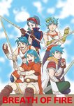 5boys aqua_hair blue_eyes blue_hair blue_sky breath_of_fire breath_of_fire_i breath_of_fire_ii breath_of_fire_iii breath_of_fire_iv breath_of_fire_v cloak closed_mouth cloud cloudy_sky commentary_request day facial_mark forehead_mark gloves green_eyes jewelry male_focus multiple_boys necklace open_mouth outdoors red_cloak ryuu_(breath_of_fire_i) ryuu_(breath_of_fire_ii) ryuu_(breath_of_fire_iii) ryuu_(breath_of_fire_iv) ryuu_(breath_of_fire_v) sky spiked_hair