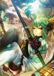 1girl asai_genji atalanta_(fate) bird bow bow_(weapon) eagle fate/apocrypha fate/grand_order fate_(series) gauntlets green_eyes green_hair holding holding_weapon looking_at_viewer official_art solo upscaled waifu2x weapon