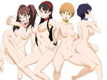 4girls amagi_yukiko ass black_hair blue_eyes blue_hair breasts brown_eyes brown_hair censored collar cottage glasses hairband kujikawa_rise long_hair looking_at_viewer mosaic_censoring multiple_girls navel nipples nude persona persona_4 pussy satonaka_chie shirogane_naoto short_hair smile twintails