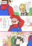 1boy 2girls bare_shoulders black_dress blonde_hair blue_earrings blue_eyes blurry blurry_background blush blush_stickers bowsette cabbie_hat comic commentary confession dress engrish faceless hand_behind_head happy hat head_out_of_frame horns long_hair mario mario_(series) multiple_girls new_super_mario_bros._u_deluxe nose_blush overalls pink_dress ponytail princess_peach ranguage red_shirt sesield shirt short_hair strapless strapless_dress super_crown