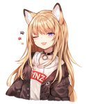 1girl ;p animal_ears black_jacket blonde_hair blue_eyes collar commentary_request dog_ears highres hood hoodie jacket kmnz_lita long_hair mc_lita no_hat no_headwear off_shoulder one_eye_closed open_clothes open_jacket paw_print simple_background sukemyon tongue tongue_out virtual_youtuber white_background
