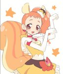 1girl :3 :d animal_ears ariesuzu_(ariessz) arisugawa_himari bow cherry choker cure_custard dress earrings elbow_gloves eyebrows eyelashes flat_chest food food_on_head fruit gloves heart jewelry kirakira_precure_a_la_mode long_hair looking_at_viewer magical_girl object_on_head open_mouth orange_hair paw_pose pink_eyes precure pudding red_choker side_ponytail simple_background smile solo squirrel_ears squirrel_tail star striped_tail tail tareme tongue white_background white_gloves yellow_bow yellow_dress yellow_neckwear