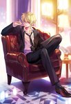 1boy alcohol black_footwear black_neckwear black_pants blonde_hair carnelian chair crossed_legs cup drinking_glass fate/grand_order fate/zero fate_(series) formal full_body gilgamesh highres holding holding_drinking_glass indoors lamp looking_at_viewer male_focus messy_hair necktie pants red_eyes shoes sitting smile solo suit table