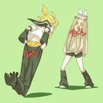1boy 1girl aran_sweater banana_print blonde_hair bow boxers brother_and_sister commentary_request covered_face detached_sleeves dressing facing_away full_body green_background hair_bow headphones headset highres kagamine_len kagamine_rin leg_warmers oversized_clothes pants prank pulling ribbon_trim rindo sailor_collar short_hair short_ponytail shorts siblings simple_background standing stuck sweater tripping twins underwear vocaloid wardrobe_malfunction