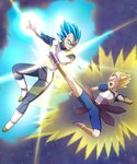 2boys armor aura blocking blonde_hair blue_eyes blue_hair boots cabba dragon_ball dragon_ball_super fighting full_body fuoore_(fore0042) gloves glowing green_eyes highres kicking male_focus multiple_boys open_mouth spiked_hair super_saiyan super_saiyan_god_super_saiyan vambraces vegeta white_boots white_gloves