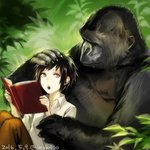 1girl androgynous black_hair book brown_pants collared_shirt commentary_request dated day gorilla grey_eyes holding holding_book open_book original outdoors pants plant shirt short_hair sidelocks signature sitting uraki_(tetsu420) white_shirt
