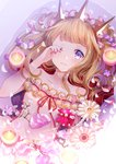 1girl absurdres bangs bare_shoulders bath bathing blonde_hair blush brown_hair cagliostro_(granblue_fantasy) collarbone crown dress eyebrows_visible_through_hair flower granblue_fantasy hand_up highres long_hair looking_at_viewer lying myusha on_back parted_lips petals purple_eyes smile solo white_dress