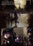1girl absurdres alphonse_(white_datura) bikini_top black_hair black_rock_shooter black_rock_shooter_(character) blue_eyes coat comic front-tie_top gloves highres long_hair petals scan silent_comic solo twintails