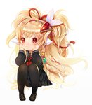 1girl 61um animal_ears arm_rest arm_support bangs beads black_legwear black_serafuku black_shirt black_skirt blonde_hair blush chin_rest closed_mouth commentary_request eyebrows_visible_through_hair granblue_fantasy hair_beads hair_ornament knees_to_chest knees_up long_hair long_sleeves looking_at_viewer makira_(granblue_fantasy) pantyhose ponytail red_eyes rope school_uniform serafuku shirt shoes simple_background sitting skirt solo very_long_hair white_background