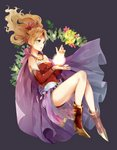 1girl aru_(18116319) blonde_hair blue_eyes bracelet breasts cleavage collarbone commentary detached_sleeves dress final_fantasy final_fantasy_vi floating_hair floral_print full_body hair_ornament high_heels highres jewelry long_hair magic no_legwear ponytail print_dress print_sleeves red_dress red_sleeves short_dress sleeveless sleeveless_dress solo strapless strapless_dress tina_branford tube_dress