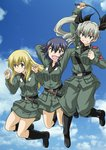 3girls :d anchovy anzio_military_uniform arm_up arms_behind_head bangs belt black_belt black_hair black_ribbon black_shirt blonde_hair boots braid brown_eyes carpaccio clenched_hand closed_mouth cloud cloudy_sky commentary_request day dress_shirt drill_hair eyebrows_visible_through_hair girls_und_panzer green_eyes green_hair grey_jacket grey_pants grey_skirt grin hair_ribbon holding jacket jumping knee_boots knife light_smile long_hair long_sleeves military military_uniform muichimon multiple_girls necktie open_mouth pants pepperoni_(girls_und_panzer) red_eyes ribbon riding_crop sam_browne_belt shirt short_hair side_braid skirt sky smile twin_drills twintails uniform v-shaped_eyebrows w_arms watermark