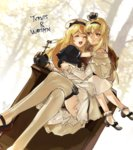 2girls bitchcraft123 blonde_hair blue_eyes braid character_name closed_eyes commentary_request crossed_legs crown dress flower french_braid garter_straps globus_cruciger hug jervis_(kantai_collection) kantai_collection long_hair long_sleeves mini_crown multiple_girls off-shoulder_dress off_shoulder open_mouth red_flower red_ribbon red_rose ribbon rose sitting sitting_on_person smile thighhighs throne warspite_(kantai_collection) white_dress white_legwear