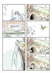 bug butterfly cave comic grey_wolf highres insect kemono_friends murakami_kou_(raye) nature no_humans outdoors river silent_comic tree wolf wolf_cub