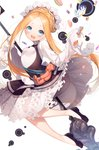 1girl :d abigail_williams_(fate/grand_order) absurdres bangs black_dress black_footwear blonde_hair blue_eyes blush braid butterfly_hair_ornament commentary_request cookie dress fate/grand_order fate_(series) flats food forehead hair_ornament hamada_pochiwo heroic_spirit_chaldea_park_outfit highres keyhole long_hair long_sleeves open_mouth parted_bangs shirt shoes sidelocks simple_background sleeveless sleeveless_dress sleeves_past_fingers sleeves_past_wrists smile solo stuffed_animal stuffed_toy teddy_bear tentacles upper_teeth very_long_hair white_background white_shirt