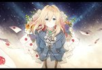 1girl blonde_hair blue_eyes blue_jacket closed_mouth eugeboy_zzzzz eyebrows_visible_through_hair floating_hair hair_between_eyes hair_intakes hair_ribbon highres jacket kyoto_animation letter long_hair long_sleeves looking_at_viewer prosthetic_hand red_ribbon ribbon sky smile solo standing star_(sky) starry_sky upper_body violet_evergarden violet_evergarden_(character) white_neckwear
