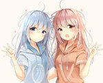 2girls :d ahoge bangs blue_eyes blue_hair blue_hoodie blush breasts brown_background brown_hoodie closed_mouth commentary_request drawstring eyebrows_visible_through_hair hair_between_eyes hand_up heart hood hood_down hoodie long_hair looking_at_viewer multiple_girls open_mouth original pink_hair red_eyes sashima short_sleeves siblings simple_background sisters small_breasts smile twins upper_body very_long_hair