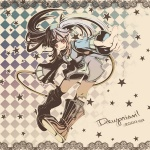 1girl ak ak0130 boots checkered dewprism hoop jewelry knee_boots leggings long_sleeves mint_(dewprism) pantyhose solo star twintails