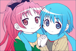 2girls blue_eyes blue_hair commentary_request hair_ornament hair_ribbon hairclip halftone holding_hands interlocked_fingers mahou_shoujo_madoka_magica miki_sayaka multiple_girls outline red_eyes red_hair ribbon sakura_kyouko scarf shared_scarf smile yuuki_akira