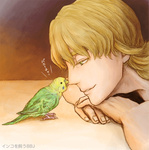 1boy barnaby_brooks_jr bird blonde_hair green_eyes male_focus nose_bite parakeet parrot solo tiger_&_bunny yasucaflex