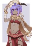 1girl alternate_costume arms_up bandaged_arm bandages bandeau bangle blush bracelet brown_cape cosplay cowboy_shot eyebrows_visible_through_hair fate/grand_order fate_(series) fingerless_gloves flat_chest gloves grey_background hassan_of_serenity_(fate) horn_ornament i.u.y jewelry loincloth looking_at_viewer mask mask_on_head military military_uniform mordred_(fate) mordred_(fate)_(all) mordred_(fate)_(cosplay) naval_uniform navel necklace outside_border purple_eyes purple_hair revealing_clothes short_hair sidelocks simple_background skull_mask solo standing stomach stomach_bulge tareme uniform white_gloves