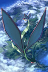 above_clouds closed_eyes cloud day flygon flying full_body gen_3_pokemon green_wings highres no_humans outdoors pippi_(pixiv_1922055) pokemon pokemon_(creature) scenery solo valley wings
