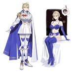 absurdres alternate_costume artoria_pendragon_(all) artoria_pendragon_(lancer) bed blue_bra blue_gloves blue_legwear bra braid breasts cape commentary_request crown dress elbow_gloves fate_(series) french_braid garter_belt gloves green_eyes hair_between_eyes highres large_breasts lingerie military military_uniform sidelocks sitting sohn_woohyoung thighhighs underwear uniform